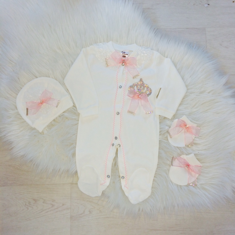 Baby Girls Ivory & Pink Babygrow Set