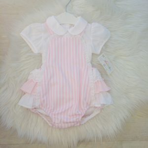 Baby Girls Pink Striped Romper Suit Set