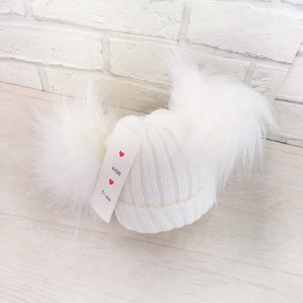 White Double Pom Pom Hat  8e1ca9aea39