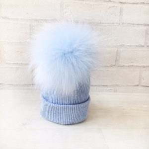 Baby Boys Blue Fur Pom Pom Hat