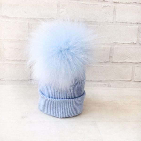 Baby Boys Blue Fur Pom Pom Hat