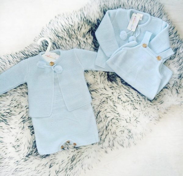 Baby Boys Blue Knitted Pom Pom Outfit