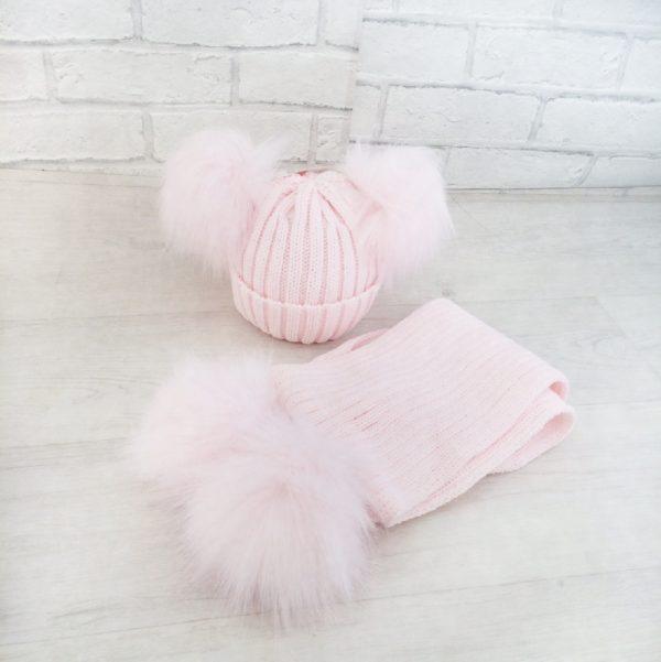 Baby Girls Pink Double Pom Pom Hat & Scarf Set