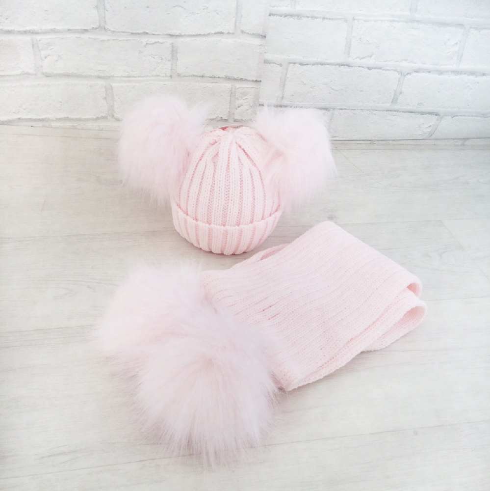 Baby Girls Pink Double Pom Pom Hat   Scarf Set  50640eca412