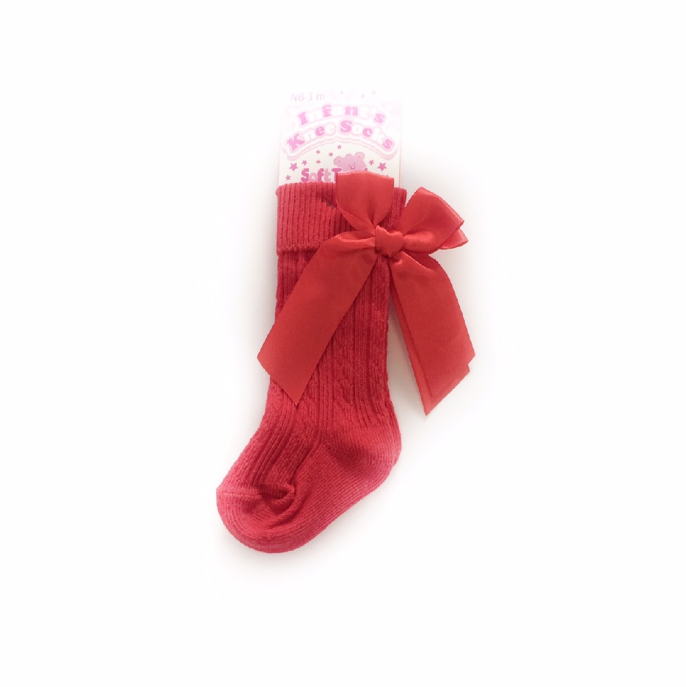 Baby Girls Red Knee High Bow Socks