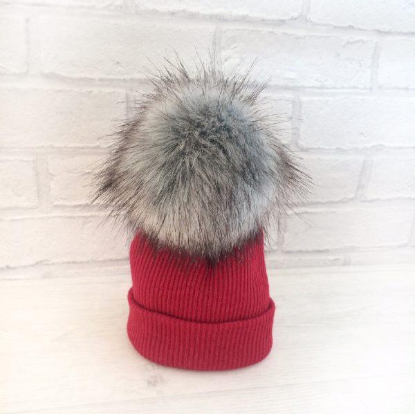 Red Fur Pom Pom Hat