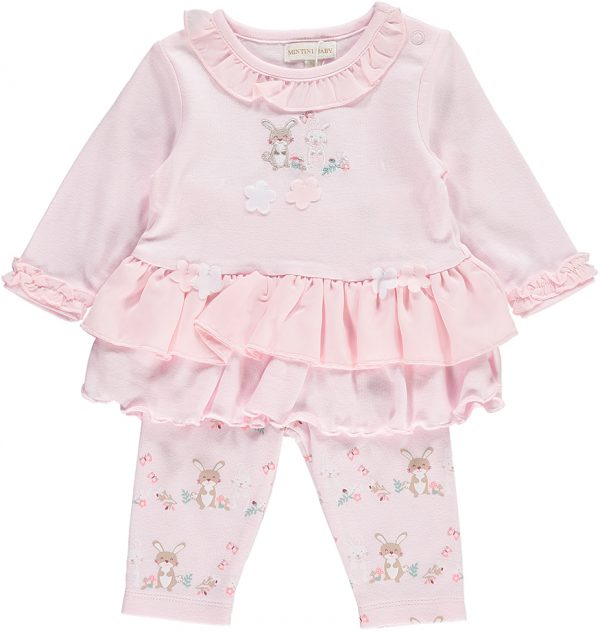 Mintini Baby Girls Pink Dress & Leggings Set