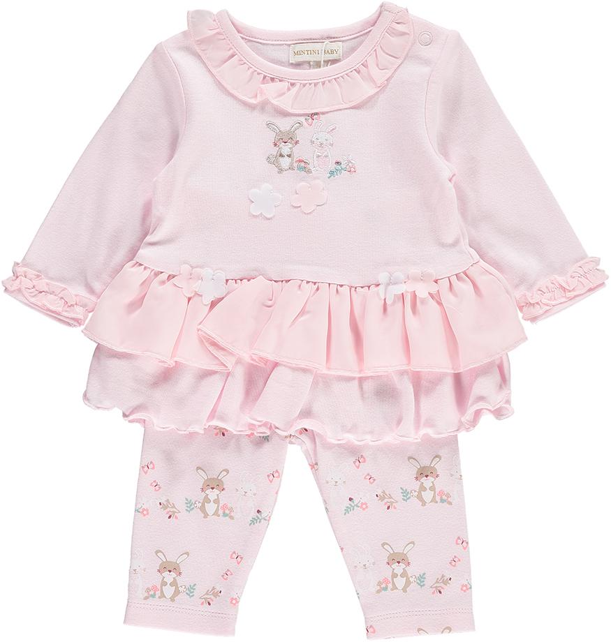 Mintini Baby Girls Pink Dress & Leggings Set