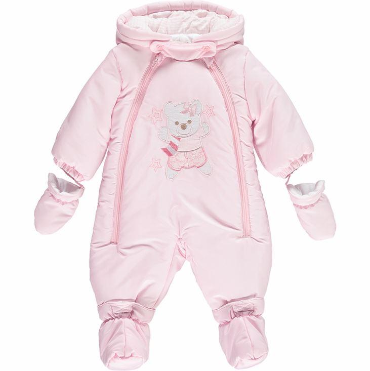 Mintini Baby Girls Pink Snowsuit