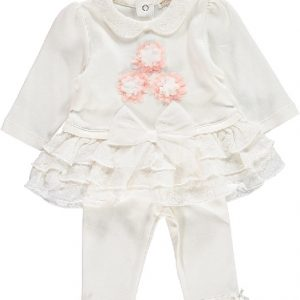 Mintini Baby Girls Ivory Dress & Leggings