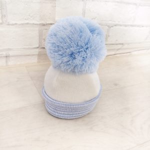 Baby Boys Blue & White Bobble Hat