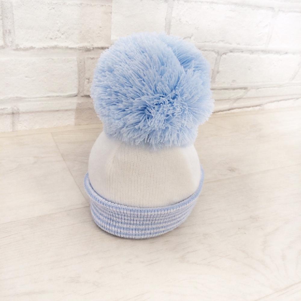 Baby Boys Blue   White Bobble Hat  28101dea8fe