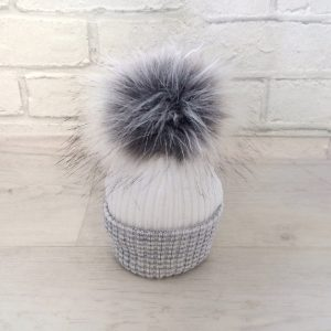 Newborn Baby White & Grey Fur Pom Pom Hat