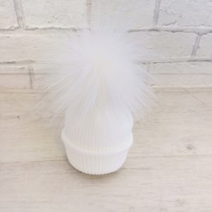 Newborn White Pom Pom Hat