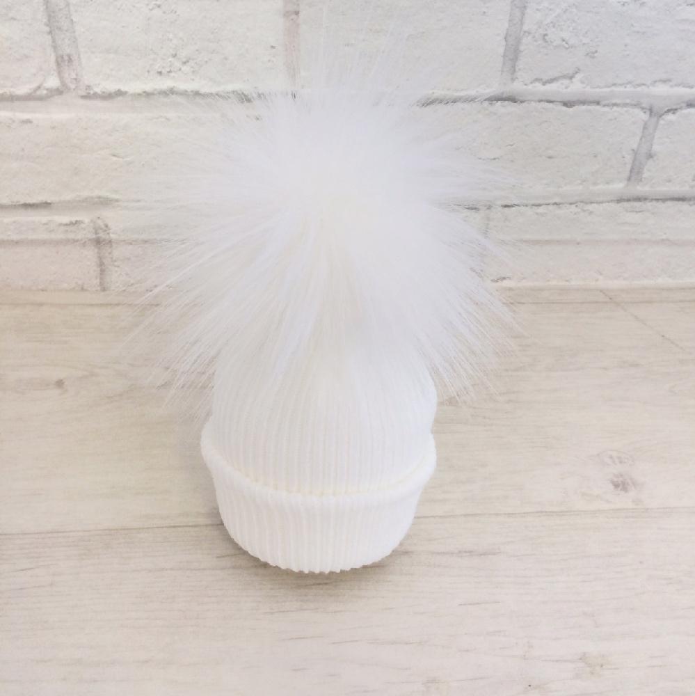 Newborn White Pom Pom Hat  4ec019aa76a