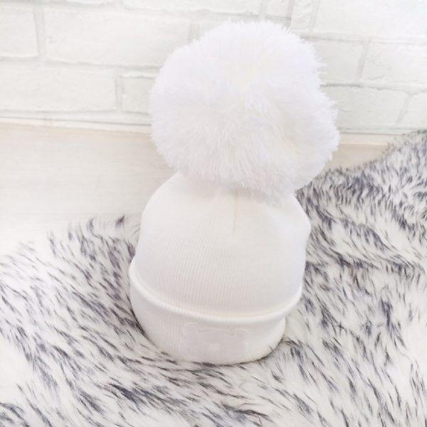 Baby White Pom Pom Hat