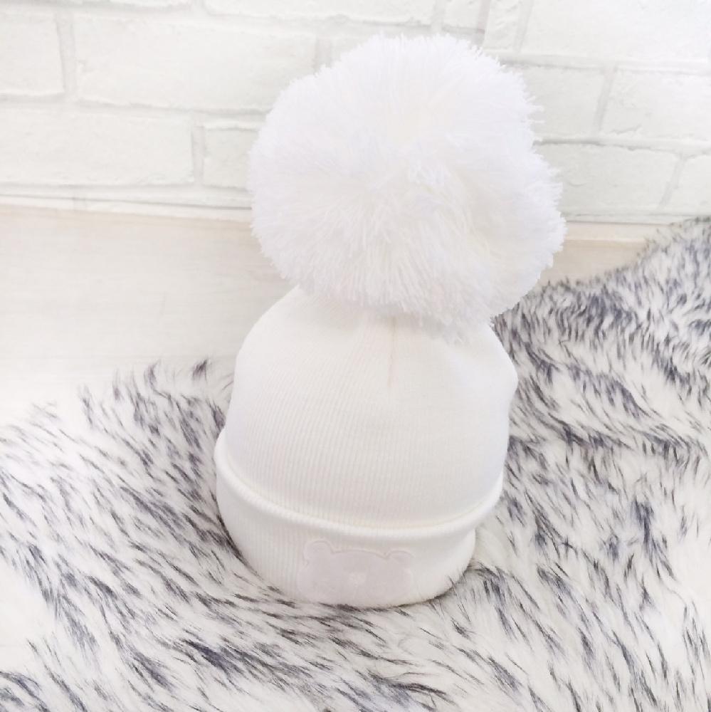Baby White Pom Pom Hat  063385af5d1