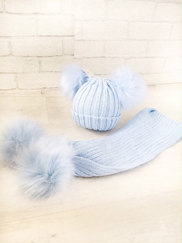 Baby Boys Blue Double Pom Pom Hat & Scarf