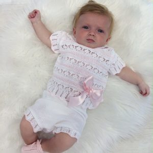 Baby Girls White & Pink Crochet Top & Shorts Set