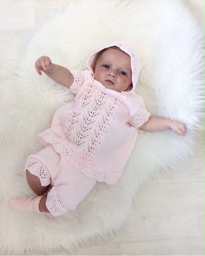 Baby Girls Pink Dress & Bloomer Set