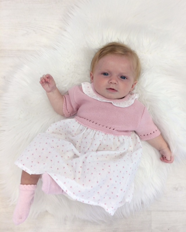 Baby Girls Pink & White Cotton Dress