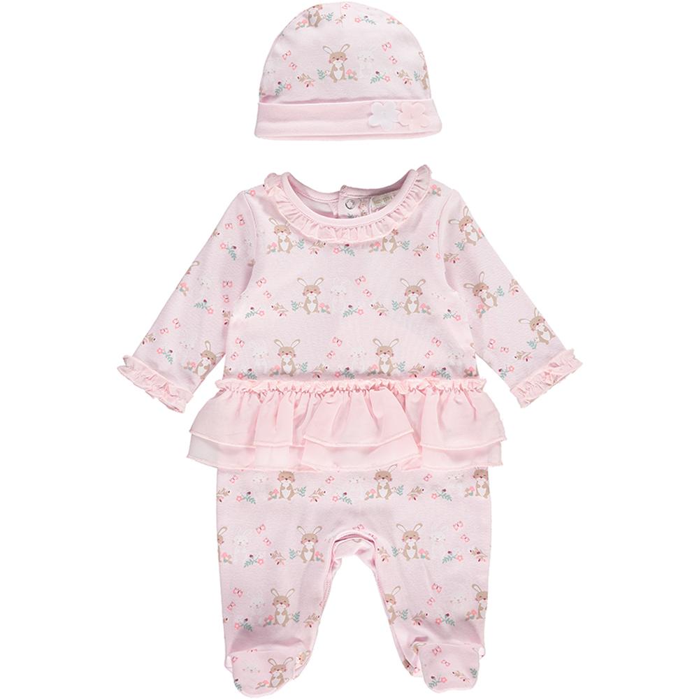 Mintini Baby Girls Pink Babygrow