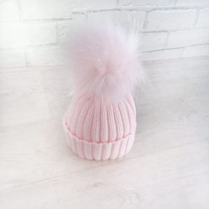 Girls Pink Fur Pom Pom Hat