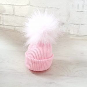 Newborn Baby Girls Pink Fur Pom Pom Hat