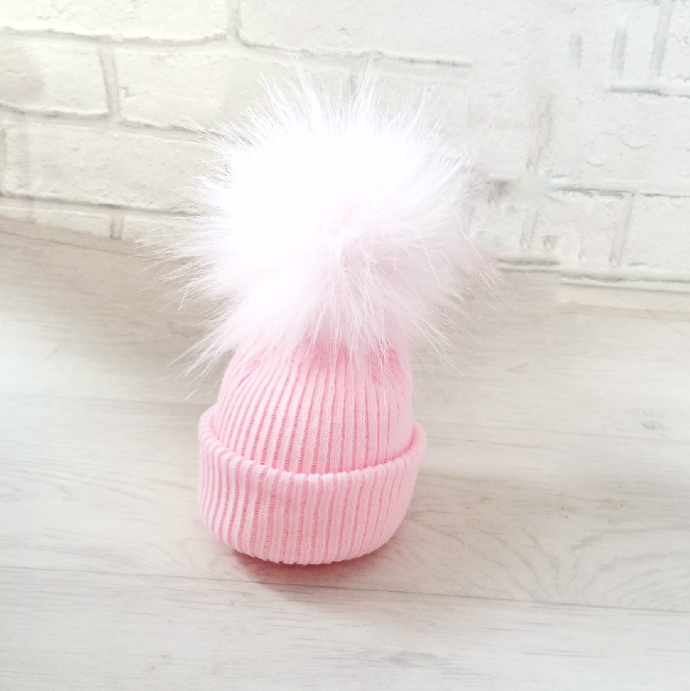5a0aa0b71013 Newborn Baby Girls Pink Fur Pom Pom Hat