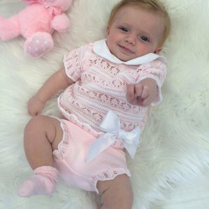 Baby Girls Pink & White Knitted Top & Shorts Set