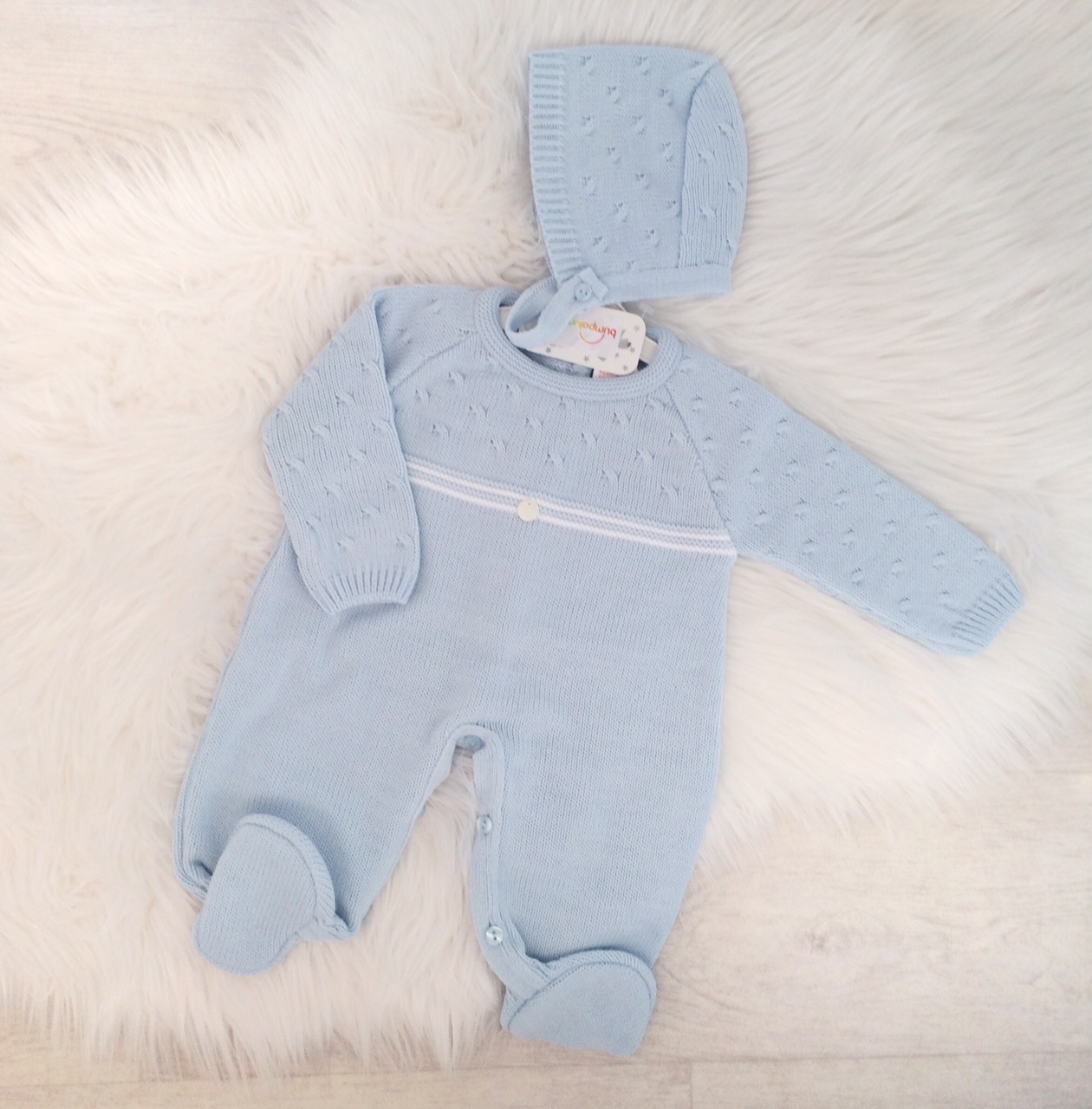 Baby Boys Blue Knitted Romper Suit & Hat