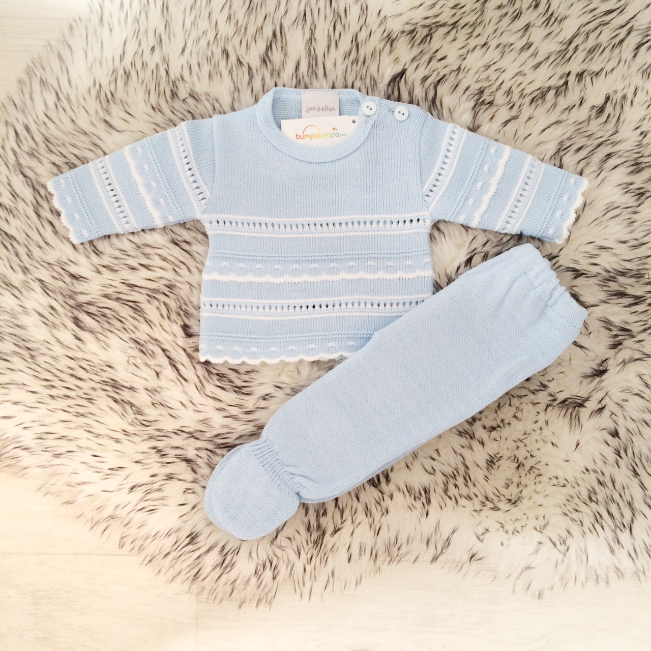 Baby Boys Blue & White Knitted Outfit