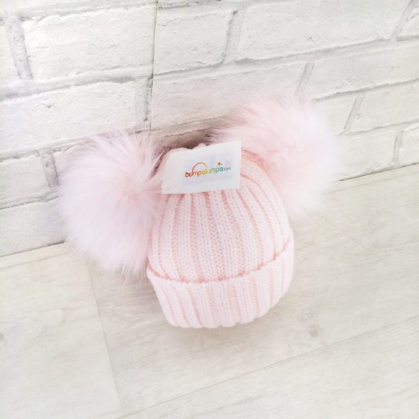 Baby Girls Pink Fur Double Pom Pom Hat
