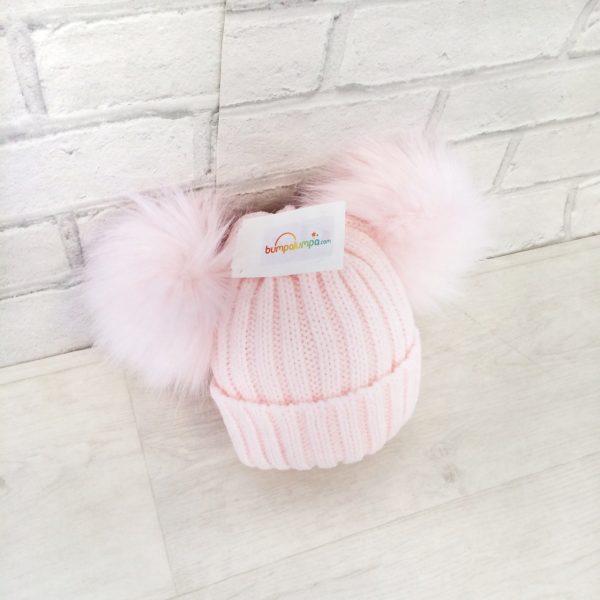 Baby Girls Pink Fur Double Pom Pom Hat