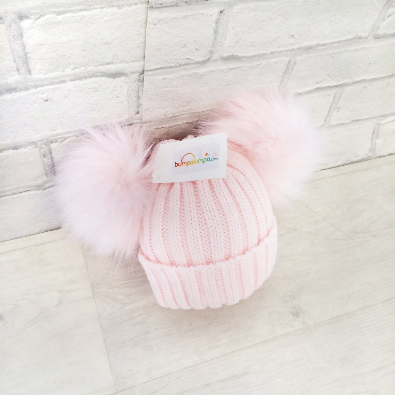 Baby Girls Pink Fur Double Pom Pom Hat  4149bd2bb40