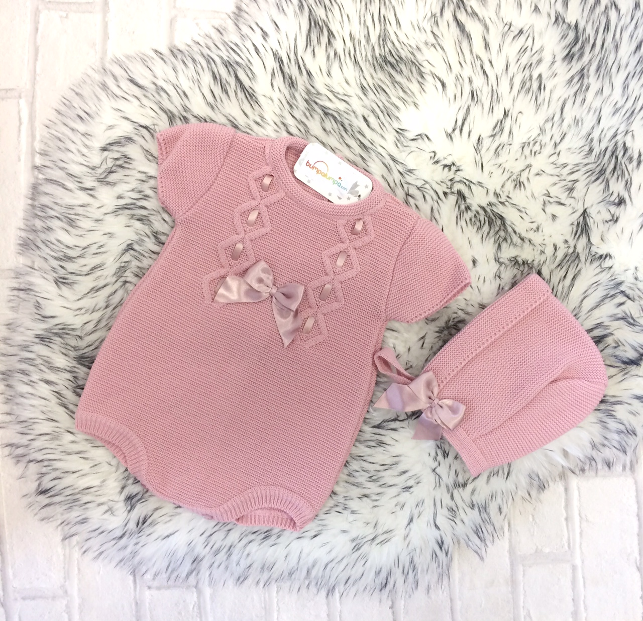 Baby Girls Dusty Pink Romper & Bonnet Set