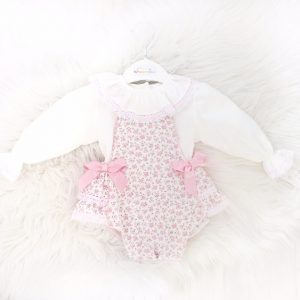 Baby Girls Floral Dungaree Outfit