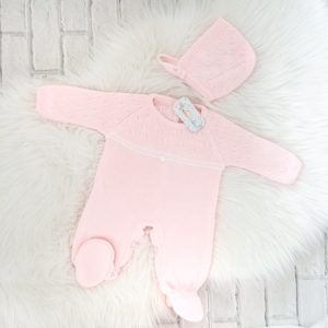 Baby Girls Pink Knitted Romper & Hat Set