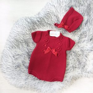 Baby Girls Red Romper & Hat Outfit