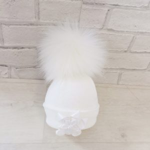 Baby Girls White Fur Bobble Hat