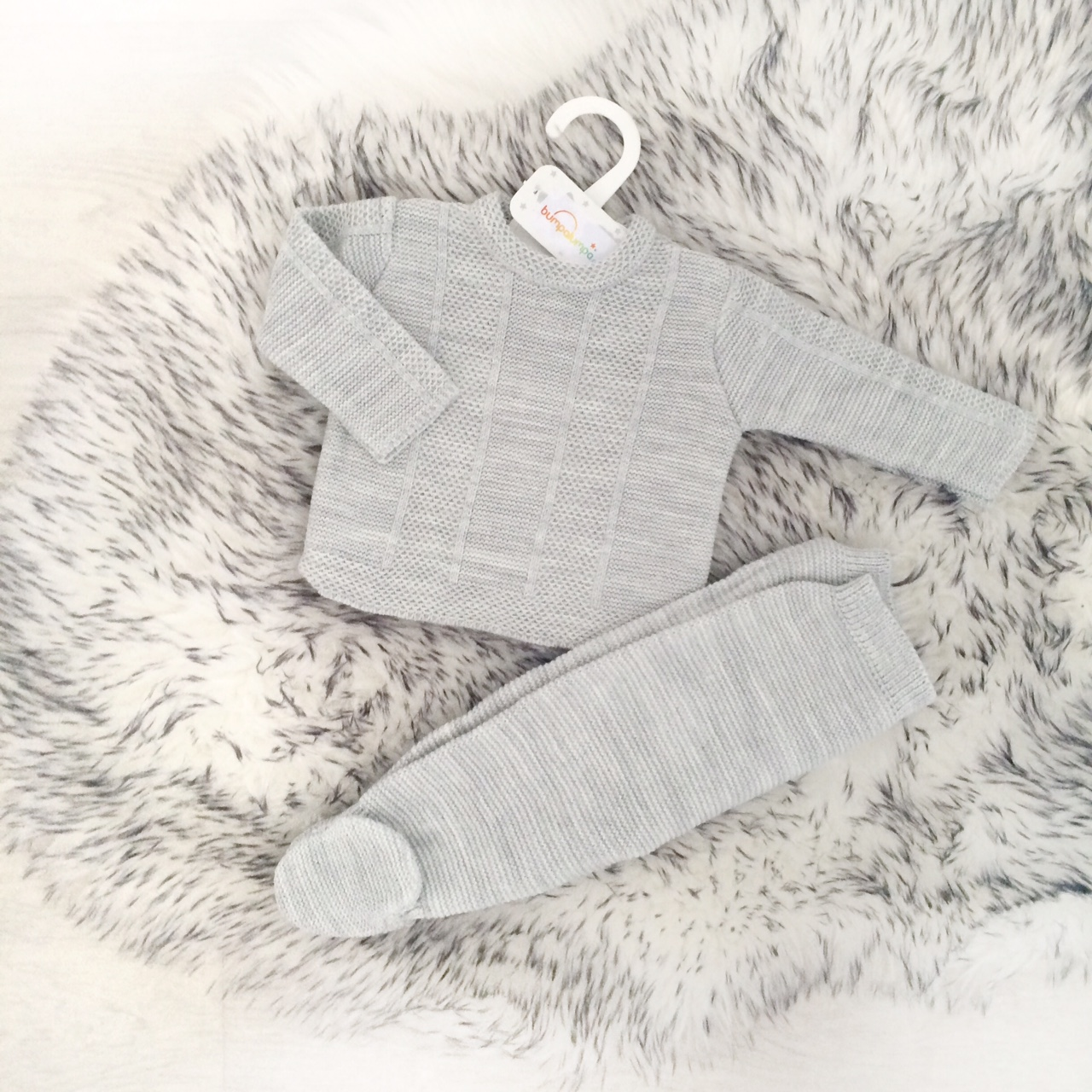 Grey Knitted Baby Outfit