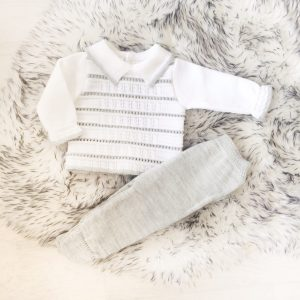 Grey & White Knitted Baby Outfit