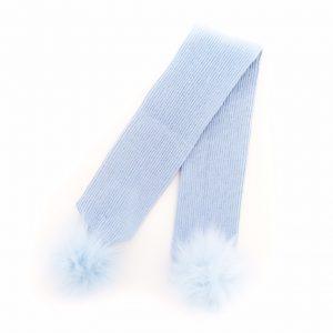 Baby Boy Blue Fur Pom Pom Scarf
