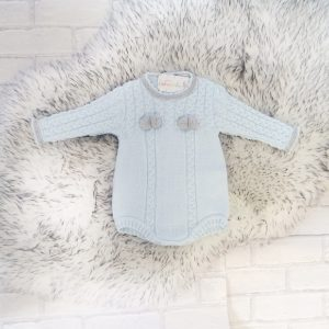 Baby Boys Blue Knitted Romper Suit