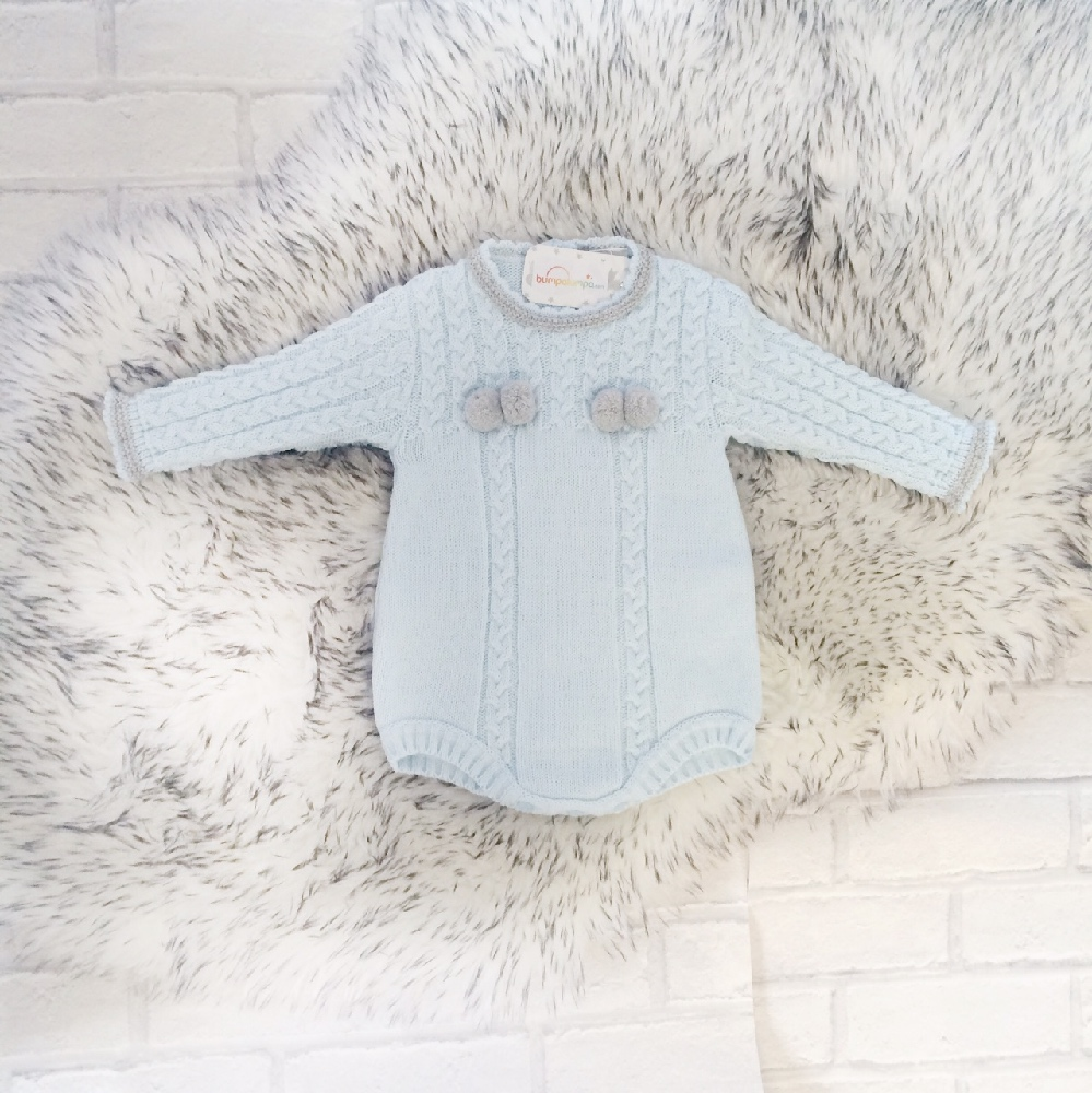 Baby Boys Blue Knitted Romper Suit Baby Boys Romper