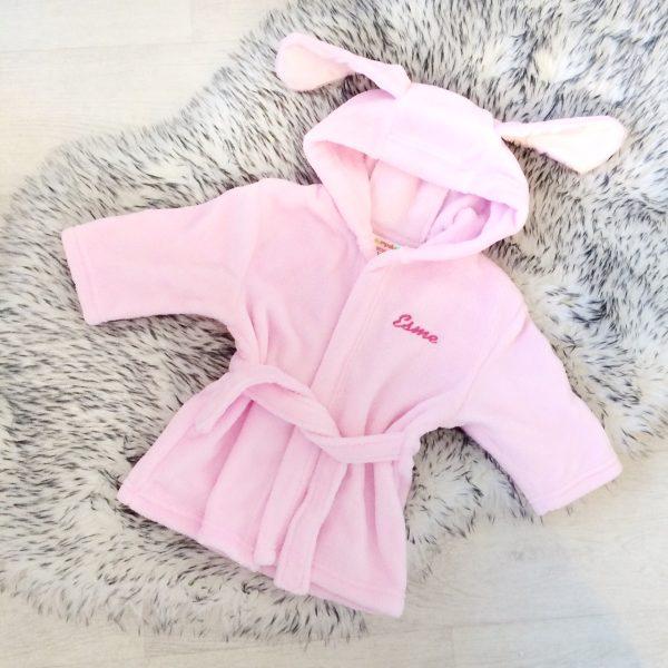 Baby Girls Pink Dressing Gown | Personalised | Bumpalumpa.com