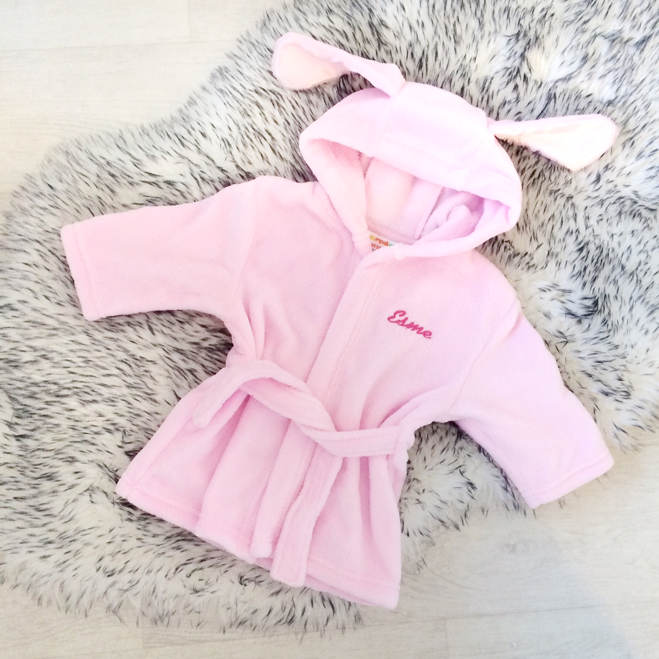 Baby Girls Pink Dressing Gown | Personalised | Bumpalumpa.com