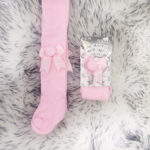 Baby Girls Pink Tights with Bow & Pom Pom