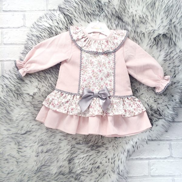 Baby Girls Pink Floral Dress with Bow