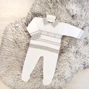 Baby Boys White & Grey Top & Trouser Set